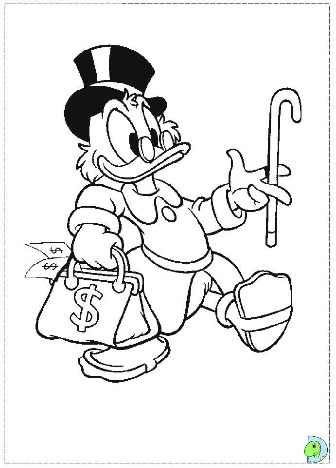 Uncle Scrooge Coloring Pages Disney Dinokidsorg