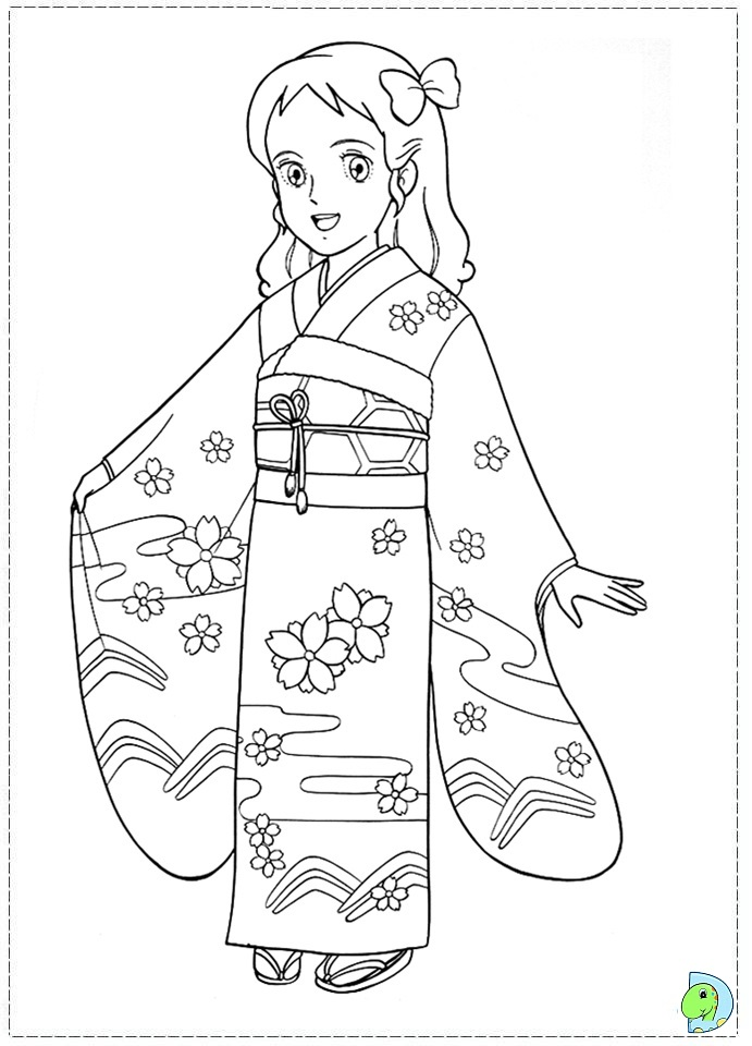 Japanese Girl Coloring page DinoKids