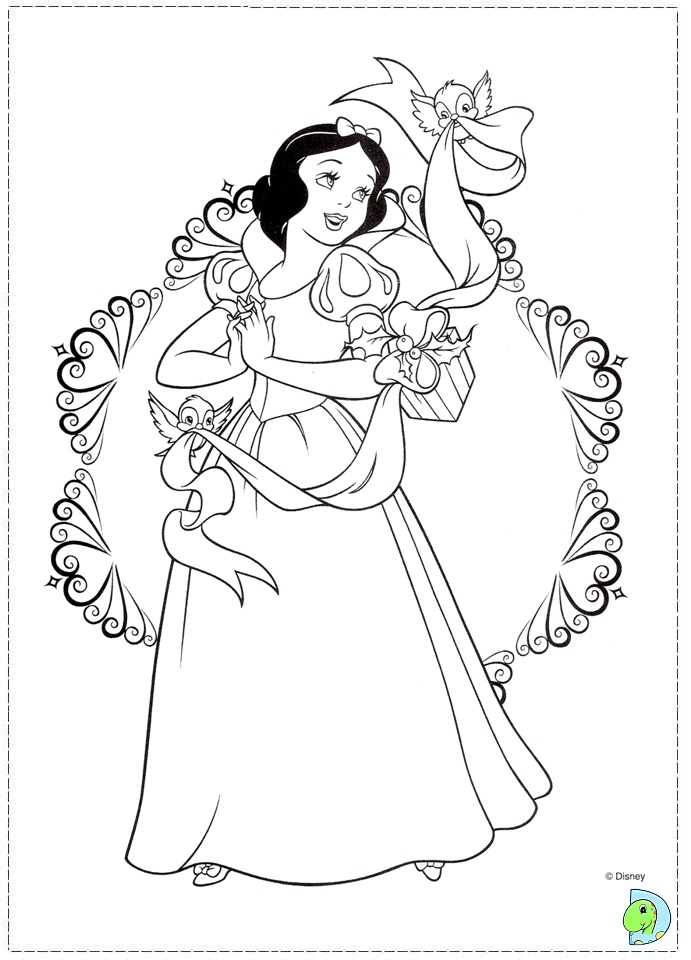 Free Printable Christmas Princess Coloring Pages : Christmas disney princess coloring page dinokids