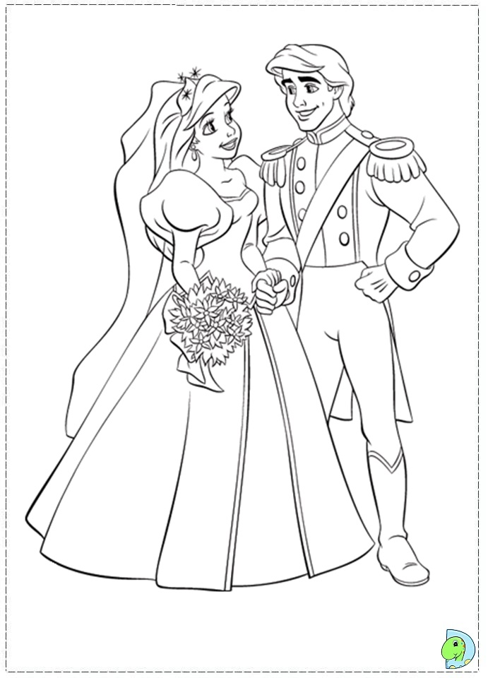 Ariel Wedding Coloring Pages