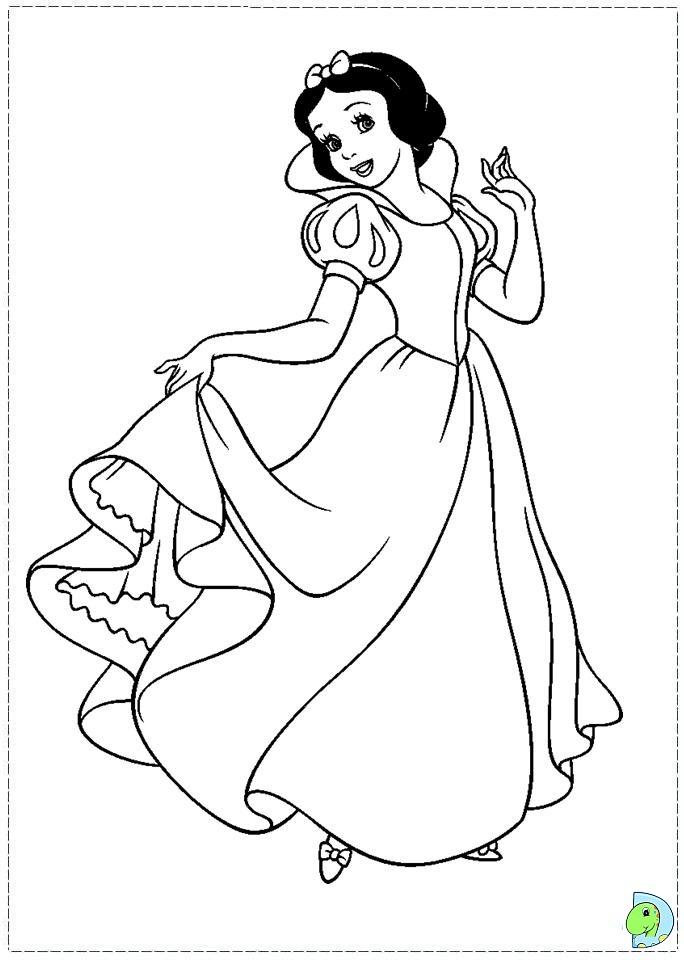 snow white coloring page dinokidsorg