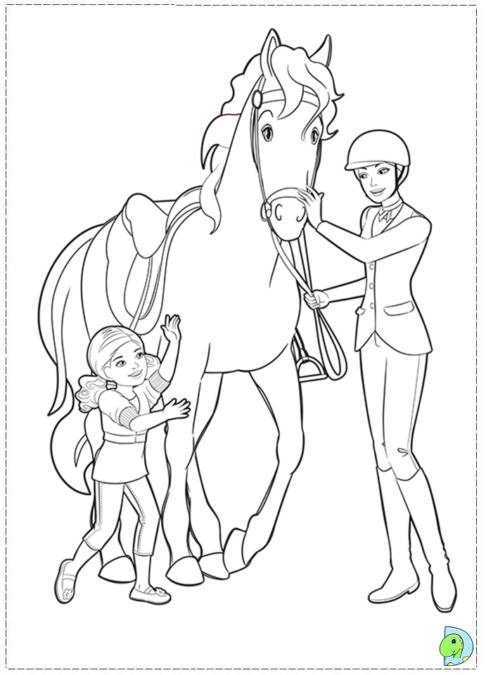 Coloring Pages Barbie Ponytail : Barbie and her sisters in a pony tale coloring
