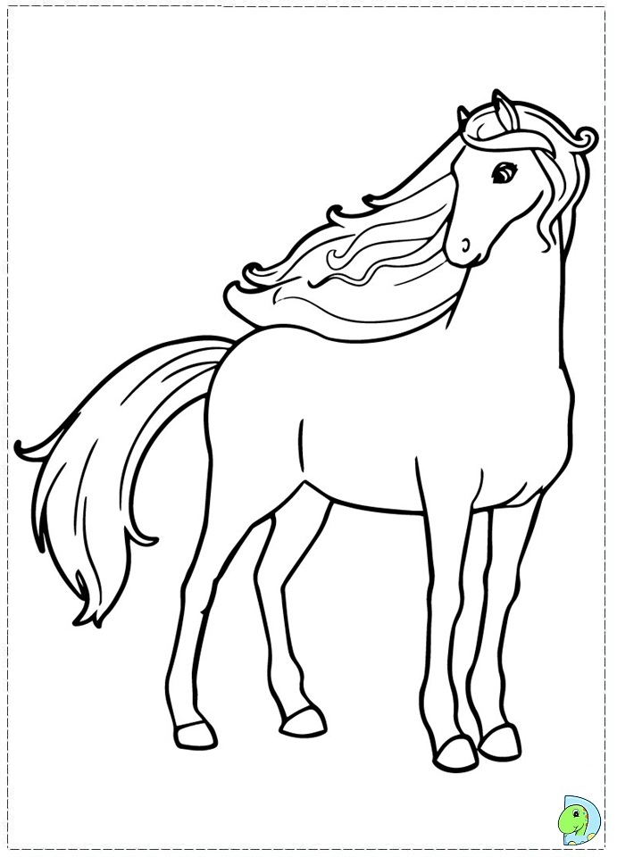 Free coloring pages of barbie in a pony tail for Barbie a cavallo da colorare