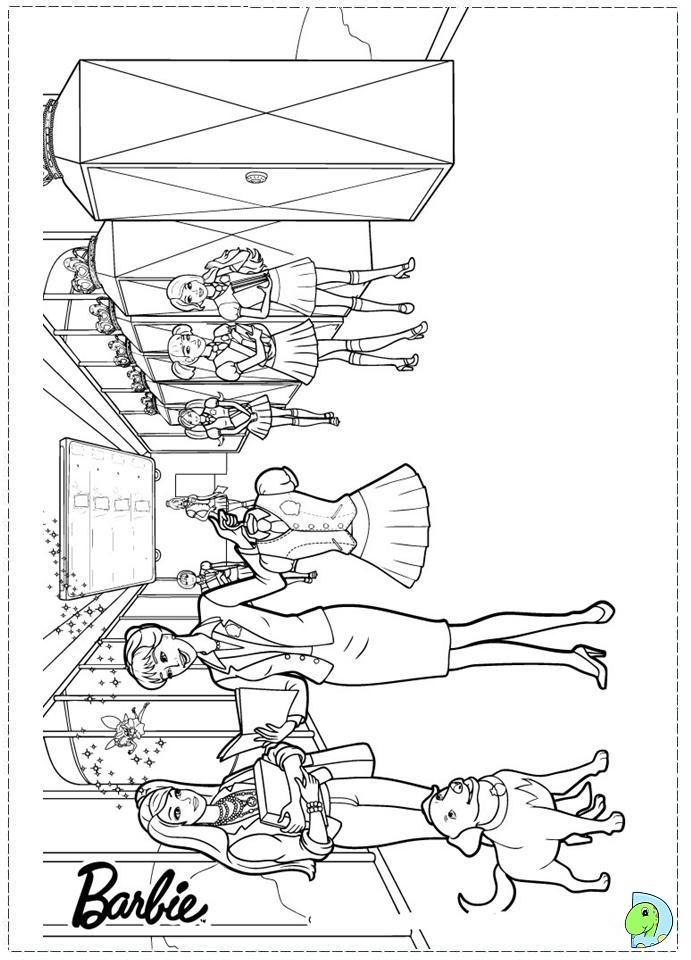 Coloring Pages Barbie Princess Charm School : Barbie princess charm school coloring page dinokids