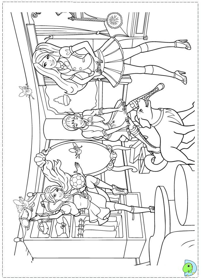 Barbie Princess Charm School Coloring Page DinoKidsorg