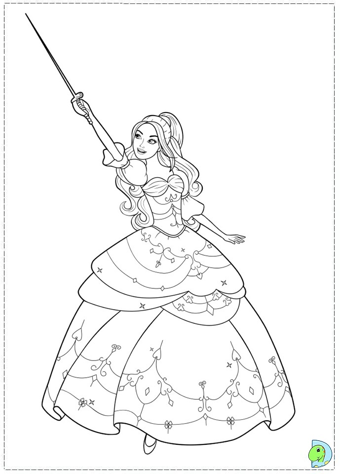 Coloring Pages Barbie And The Three Musketeers : Barbie coloring page dinokids