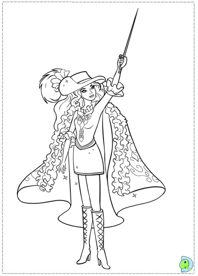 Barbie musketeers coloring pages free