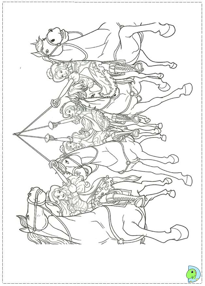 Coloring Pages Barbie And The Three Musketeers : Barbie and the three musketeers coloring page dinokids