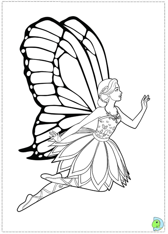 barbie mariposa coloring pages free - photo#27