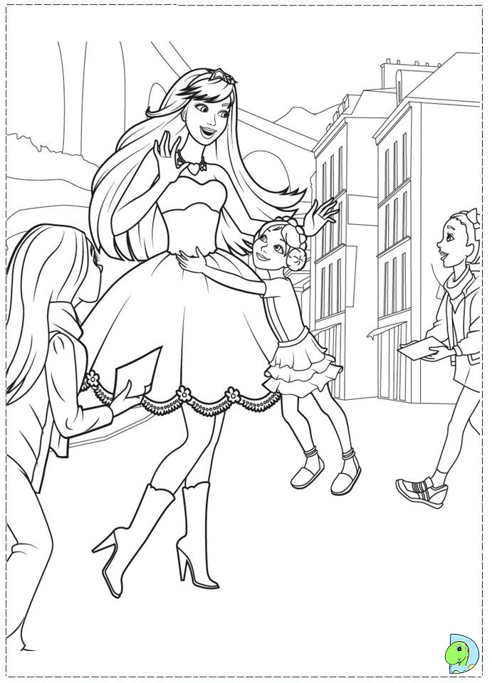 Coloring Pages Barbie Rockstar : Barbie the princess and popstar coloring page