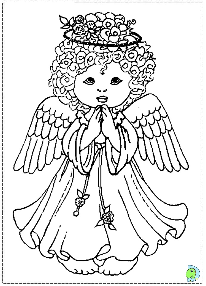 Angel Coloring Page Christmas Colouring DinoKidsorg