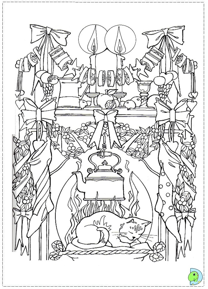 Christmas stockings coloring page- DinoKids.org