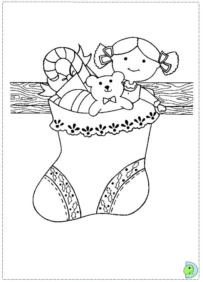 free coloring pages of sock stocking