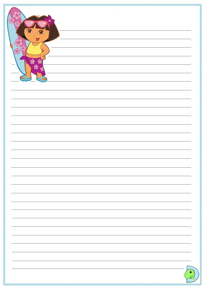 Dora The Explorer Writing Paper Dinokids Org The Explorer Coloring Page