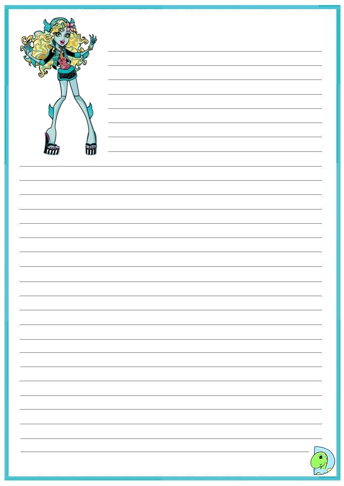 Monster High Writing Paper Printable
