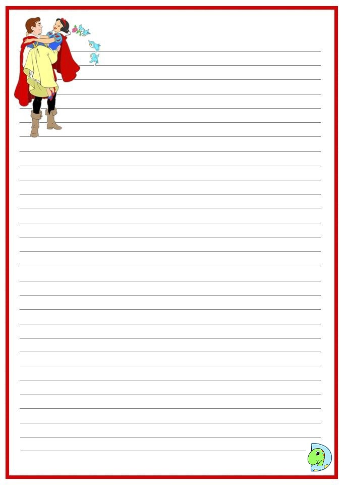 Snow White writing paper- DinoKids.org