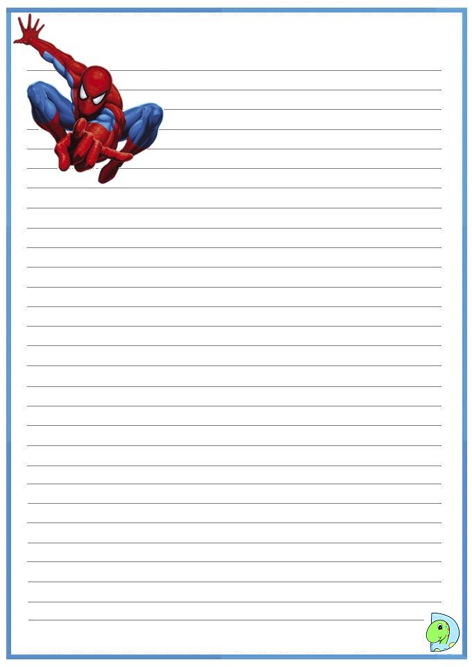 Spiderman writing paper- DinoKids.org