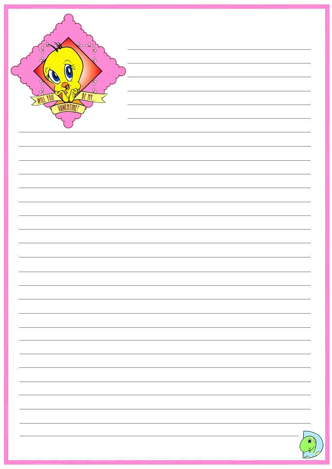 Tweety writing paper, Tweety handwriting paper- DinoKids.org