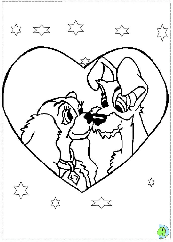 The Lady and the Tramp Coloring page- DinoKids.org