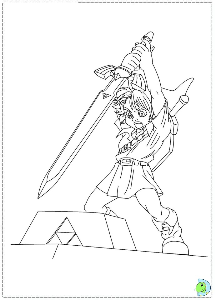 The Legend Of Zelda Coloring Page Dinokids Org