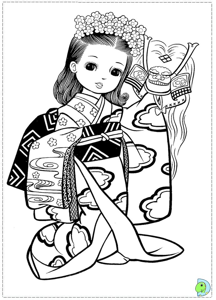 Japanese Girl Coloring page - DinoKids.org