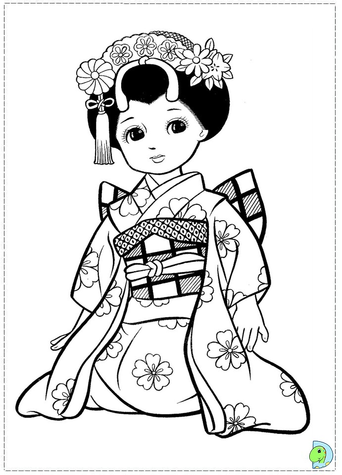 Download Japanese Girl Coloring page - DinoKids.org