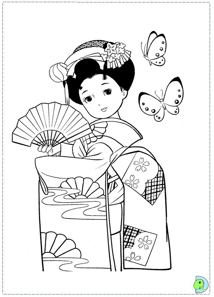 Japanese Girl Coloring Page Dinokids Org