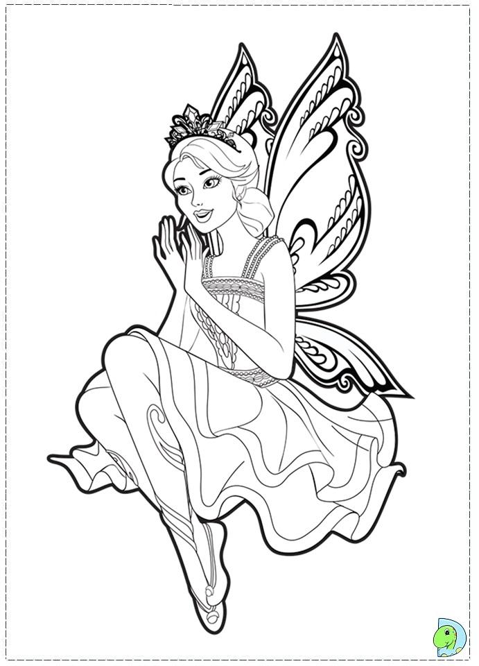 Barbie mariposa and the fairy princess coloring page for Mermaid fairy princess coloring pages