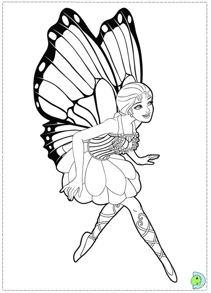 barbie mariposa and the fairy princess coloring page dinokidsorg - Fairy Princess Coloring Pages