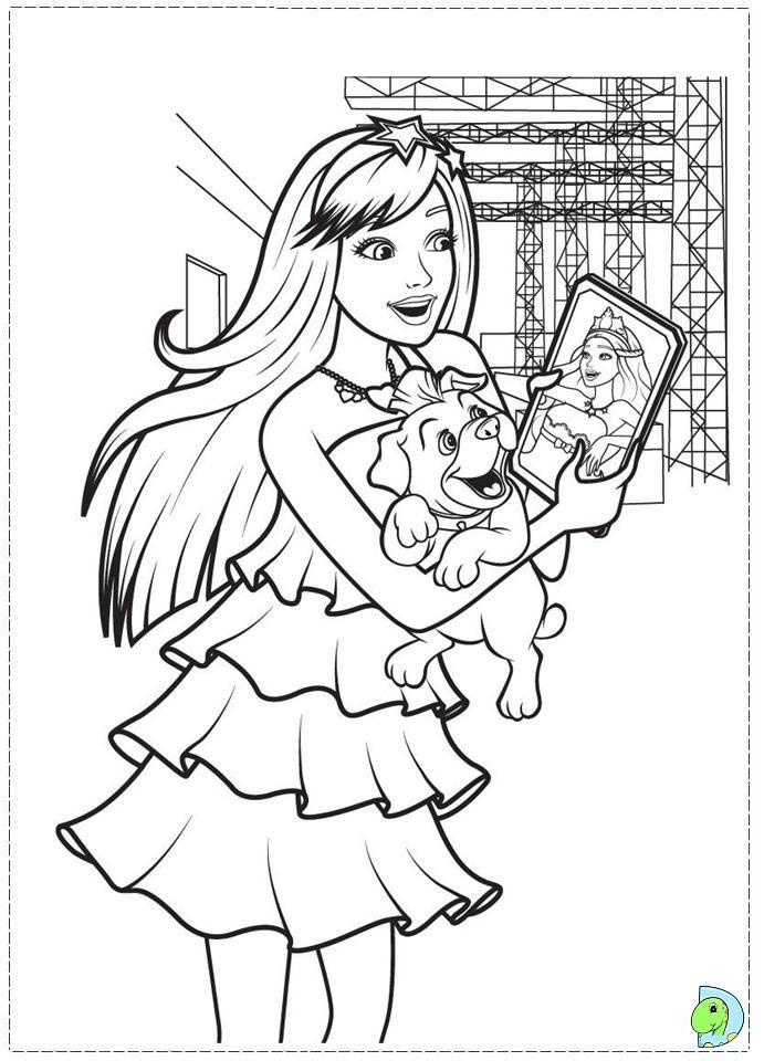 Barbie The Princess And Popstar Coloring Page DinoKidsorg